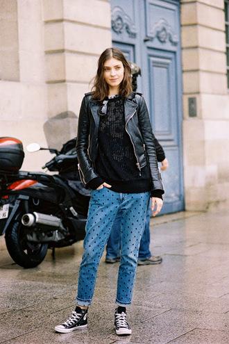 vanessa jackman blogger jacket jeans coat polka dots