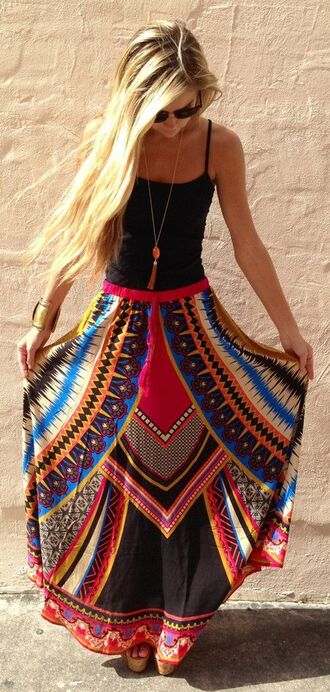 skirt boho maxi dress pinterest dress fashion style girly cute women trendy hipster urban girlyclassy events clothes summer outfits summer dress beach dress vintage printed skirt