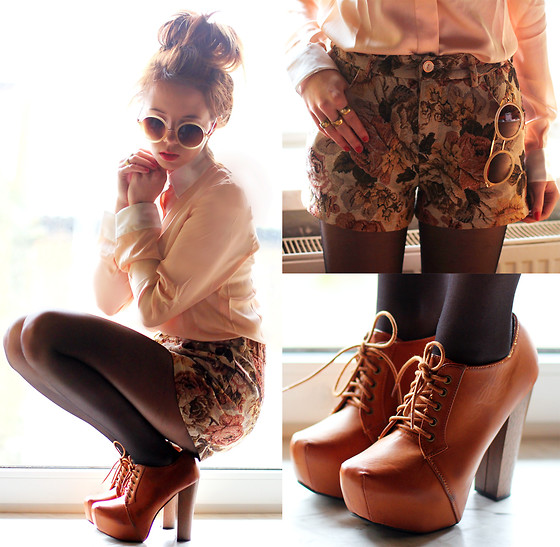 Romwe Shorts, Romwe Shirt, Zerouv Sunglasses - Flower Retro Beige Shorts - Wioletta Mary Kate | LOOKBOOK