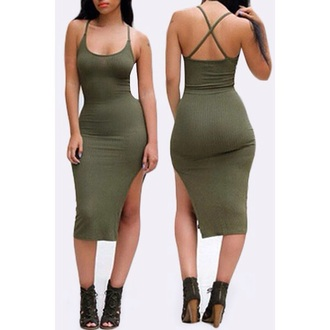 dress girly girl girly wishlist sexy dress bodycon dress bodycon trendsgal green green dress slit slit dress green slit dress midi dress body cute fashion summer sexy party dresses sexy party outfits summer outfits summer dress cute dress girly dress date outfit clubwear club dress pool party spring dress spring outfits birthday dress spring party party dress olive green criss cross sundress summer holidays all military green outfit hot side split short dress dark green criss cross back