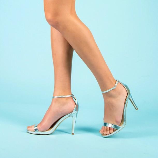 4c6610c516b shoes silver strappy heels silver heels metallic heels fashion style trendy  classic shiny heels qupid