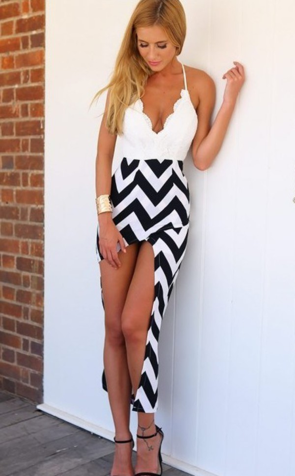 Lace Decorated Stripe Split Maxi Dress|Disheefashion