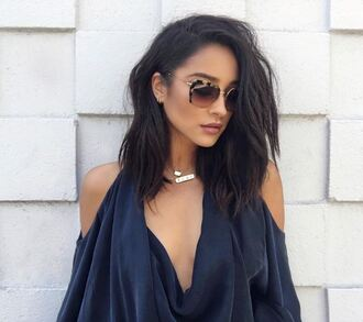 romper blouse necklace sunglasses instagram shay mitchell navy cut out shoulder