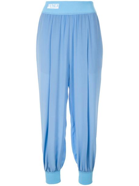Fendi women spandex blue silk pants