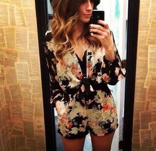 8e41c37084a romper floral lace sheer jumpsuit romper low cut v neck