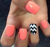 nail polish,nail accessories,peach,orange,white,black,cheveron