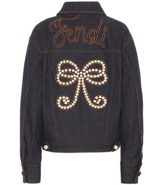 Fendi jacket denim jacket denim embellished embellished denim blue