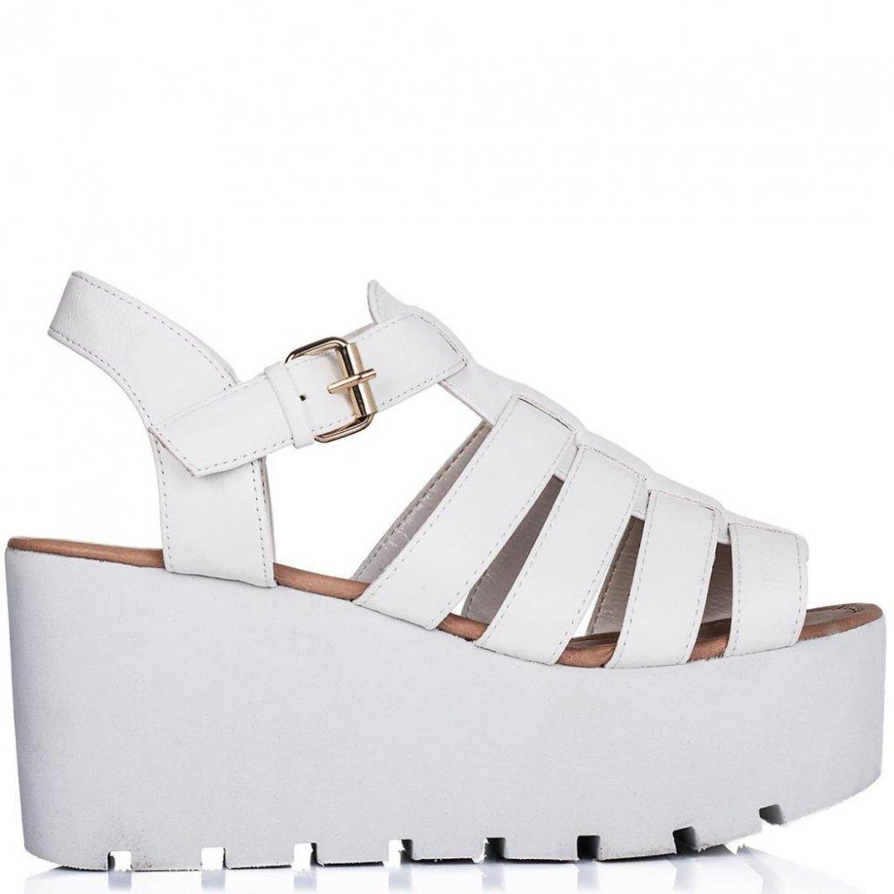 Buy surf cut out flatform platform sandal shoes white leather style online