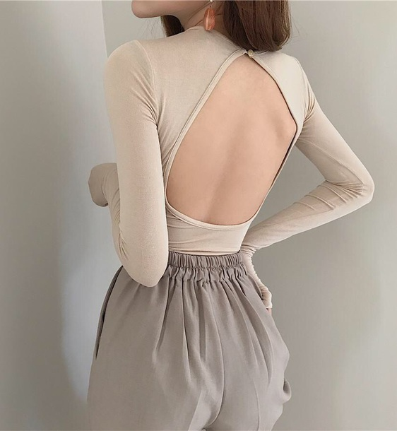 blouse girly nude long sleeves backless cut-out