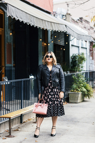 dress plus size dress midi dress curvy plus size floral floral dress jacket black jacket black leather jacket leather jacket pumps bag pink bag sunglasses round sunglasses spring outfits spring dress