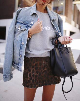 top skirt tumblr sweatshirt grey sweater mini skirt jacket denim jacket denim bag black bag