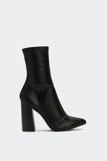 PU Flare Heel Sock Boot | Shop Clothes at Nasty Gal!