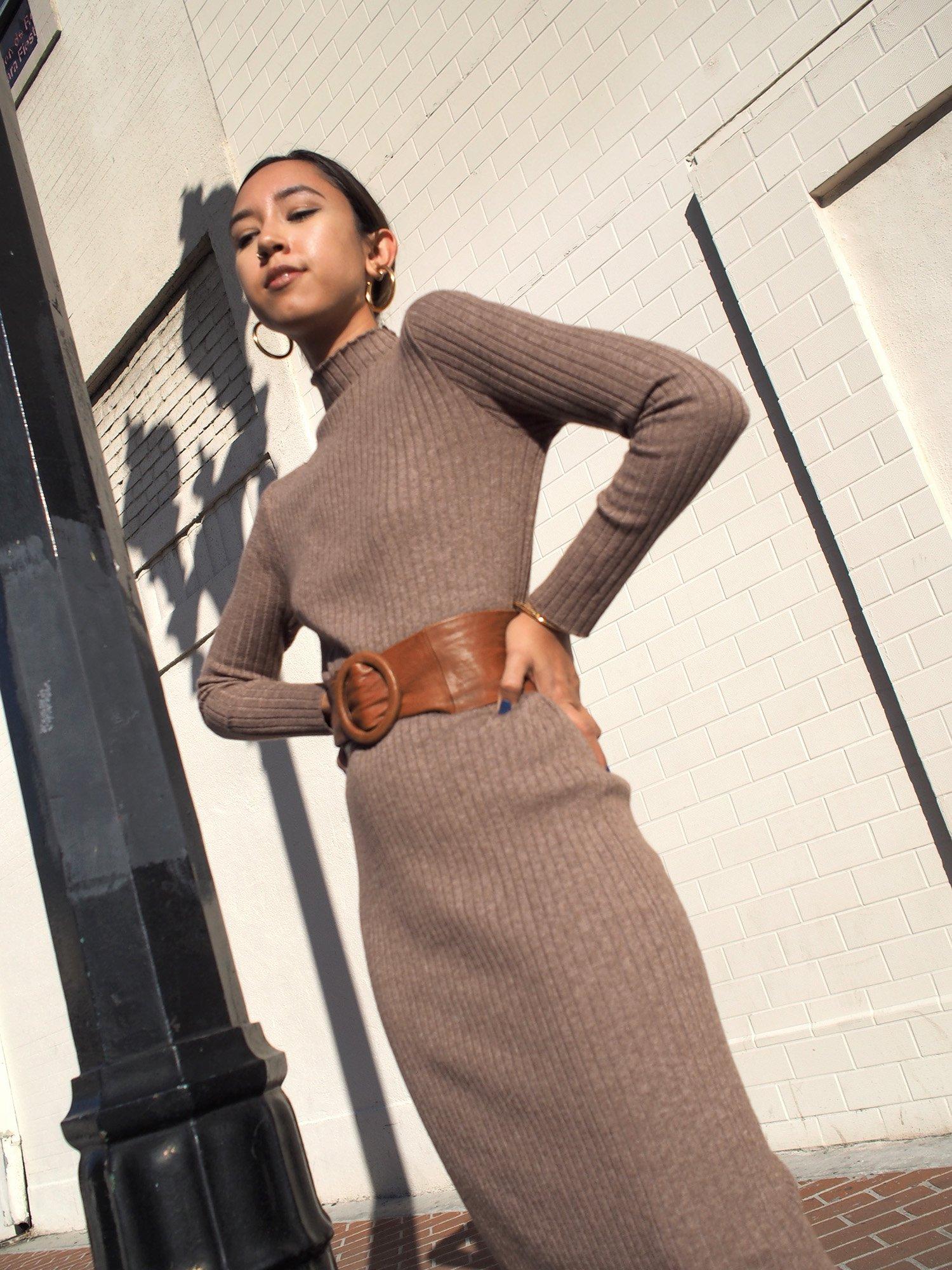Ribbed Wool Blend Knit Dress