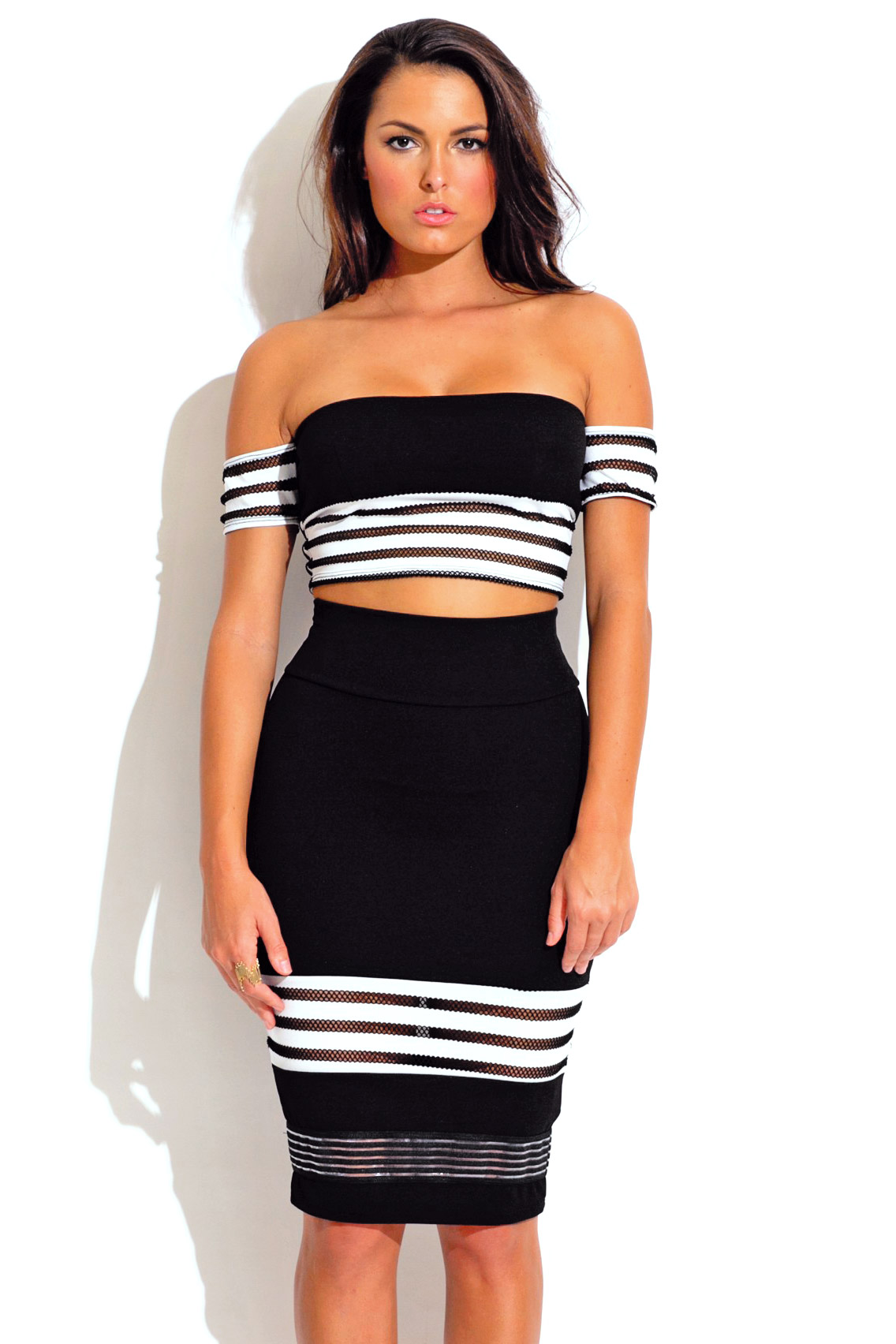 Black stripe mesh bodycon crop and high waisted skirt two piece dress set