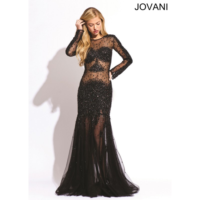 Jovani 74405 Illusion Beaded Gown 2018 Spring Trends Dresses