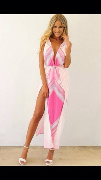 white dress pink dress summer dress maxi dress slit dress