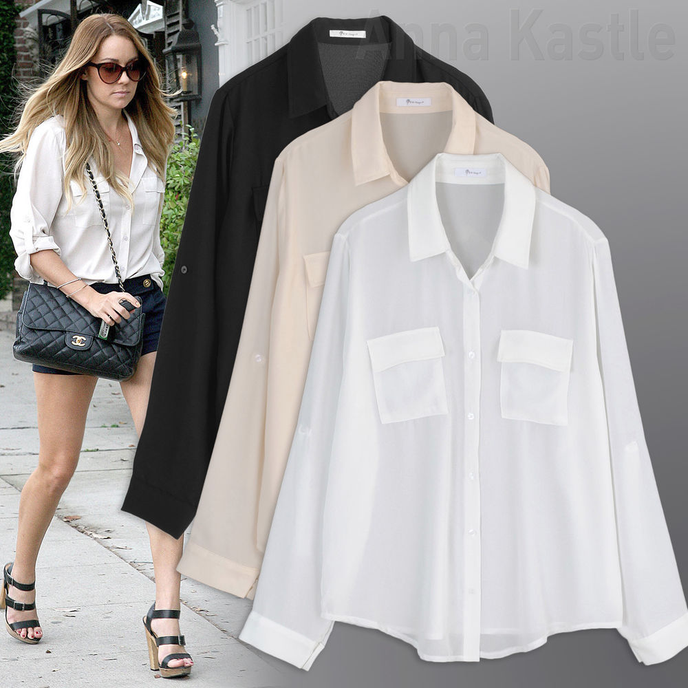 AnnaKastle New Womens Semi Sheer Chiffon Button Down Pocket Utility Shirt Blouse | eBay