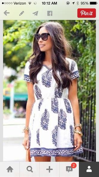 dress southern style casual dress summer dress shoes wrap dress aztec sweater blue and white mini dress tunic dress pattern blue white classy