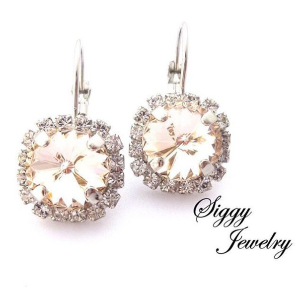 Jewels siggy jewelry swarovski earrings bridal for Jewelry for champagne wedding dress