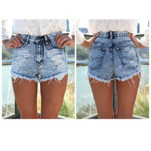 shorts denim shorts High waisted shorts blue denim high waisted black bikini
