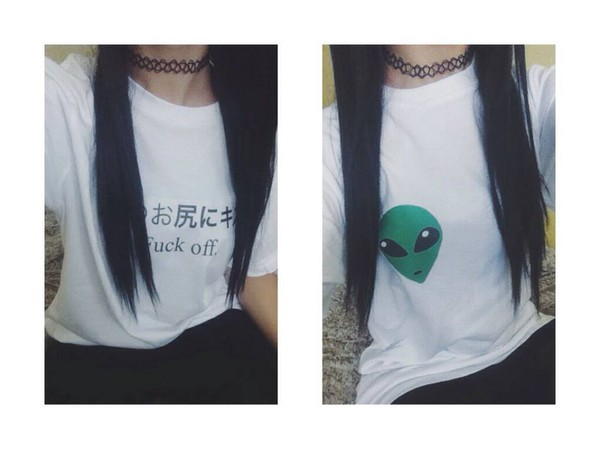 t-shirt alien fuck off white shirt