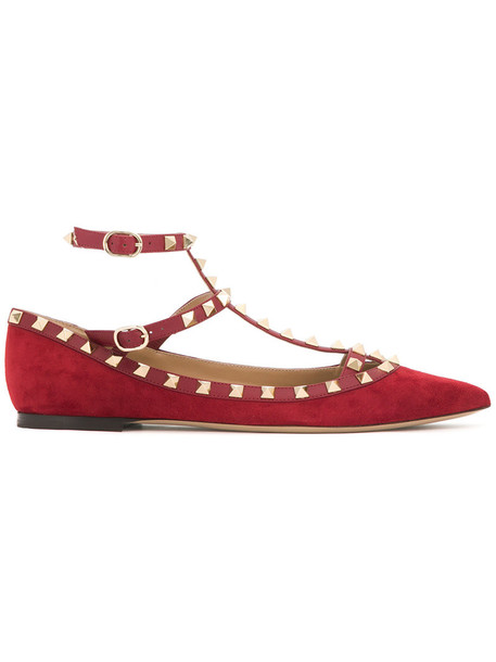 women shoes leather red