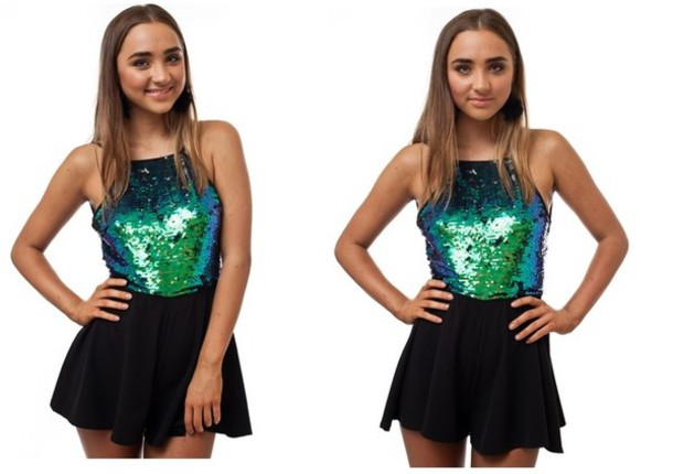 dress green sequin playsuit sequin romper gradient sequin romper black playsuit sexy playsuit popular playsuit hot selling celebrity style australian label size smal mermaid mermaid playsuit mermaid romper mermaid jumpsuit