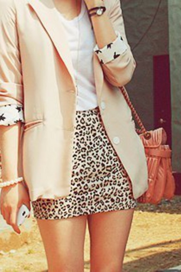 Skirt animalprint leopard print leopard print skirt blazer simple outfit print cute ...