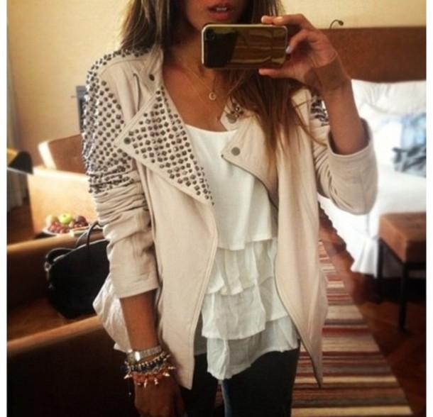 jacket studded, jacket, beige, tan, cute