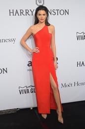 dress,gown,one shoulder,red dress,red carpet,kendall jenner,pumps,shoes