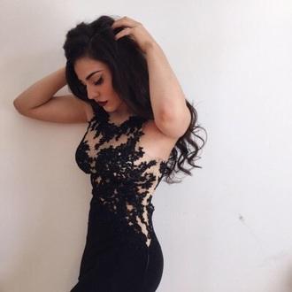 dress lace black mini dress