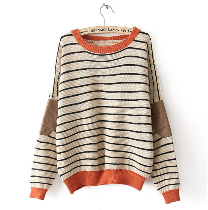 New fashion cream bat sleeve striped printed sweater &cardigan  on luulla