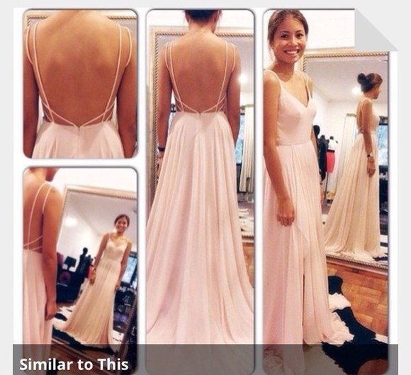 dress simple pink dress prom dress long prom dresses backless prom dresses pale pink
