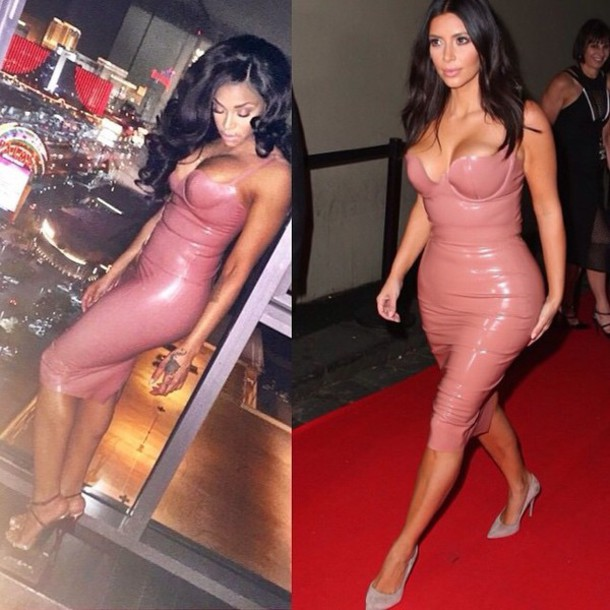 kim kardashian tight bandage dress pink dress