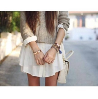 sweater knitted sweater knitwear skirt white skirt bracelets jewels jewelry gold bracelets bag white bag leather bag cute top winter outfits girly dress