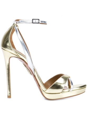 ankle strap sandals metallic shoes