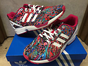 sports shoes 82d1e cfcb7 Adidas ZX Flux Multicolor Cheetah GS Sz 4-7y Prisms Galaxy Leopard Red Pink  Kids