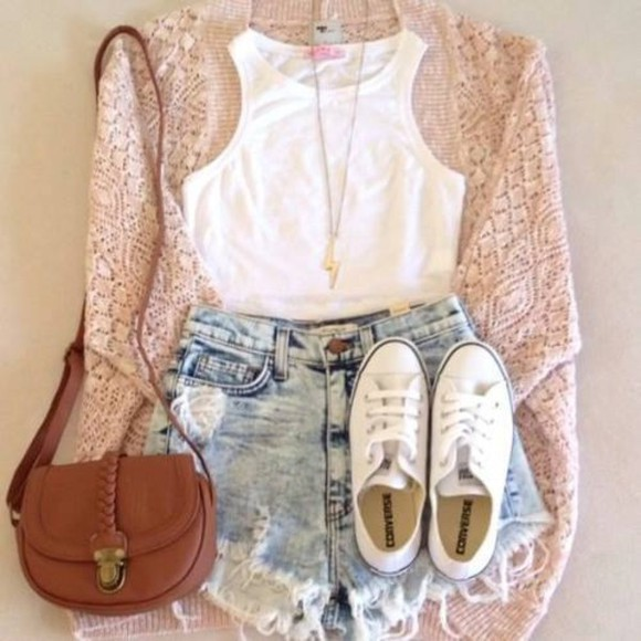 clothes sweater light pink cardigan converse high waisted short hipster clothes bag jewels shorts