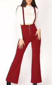 jumpsuit,girly,red,burgundy,zip,suspenders,overalls