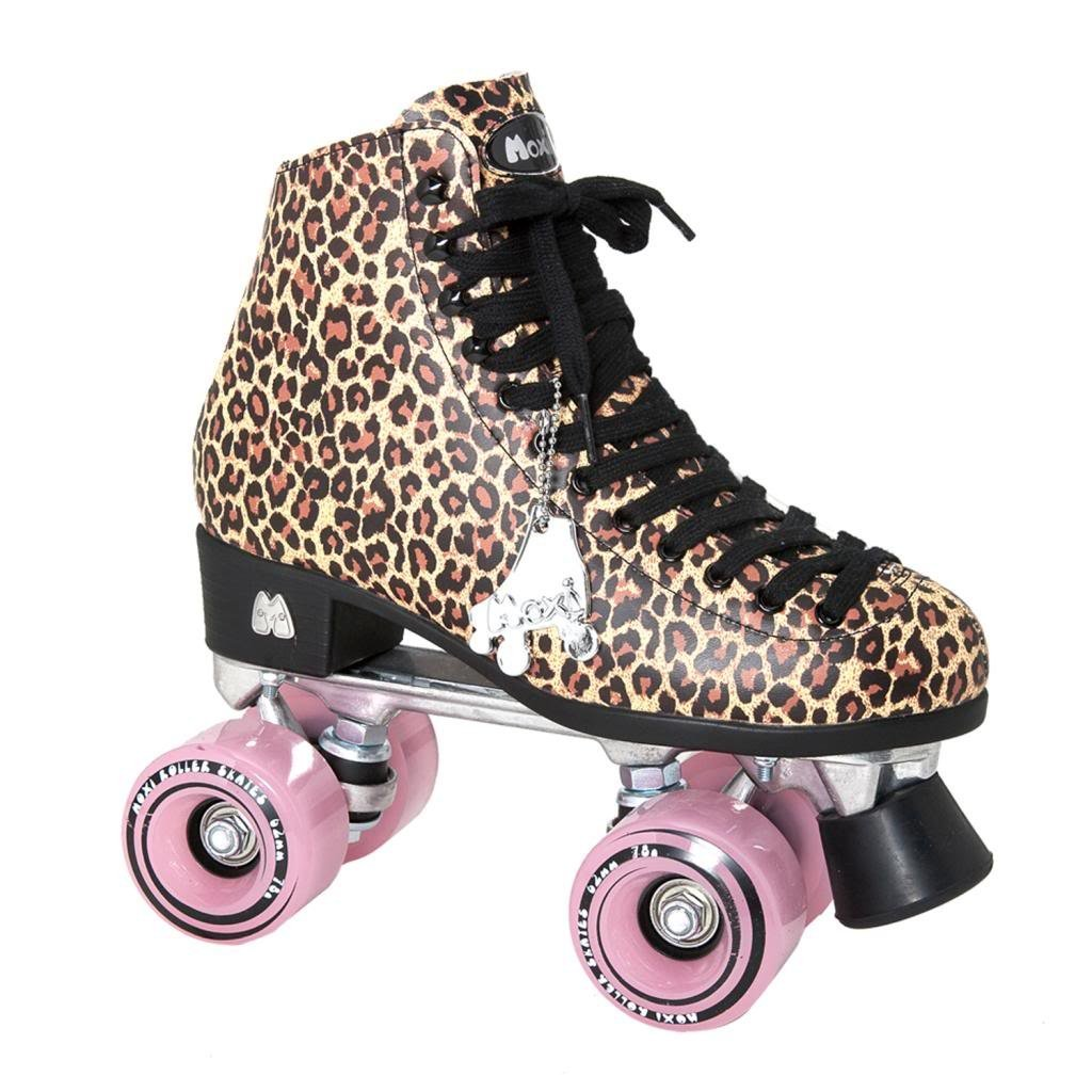 Amazon.com : Moxi Ivy Jungle Outdoor Roller Skates - Tan Leopard Print with Moxi Juicy Pink Frost Wheels : Sports & Outdoors