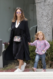 dress,coat,sneakers,midi dress,purse,jessica alba,spring outfits,spring,bag,sunglasses