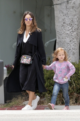 dress coat sneakers midi dress purse jessica alba spring outfits spring bag sunglasses