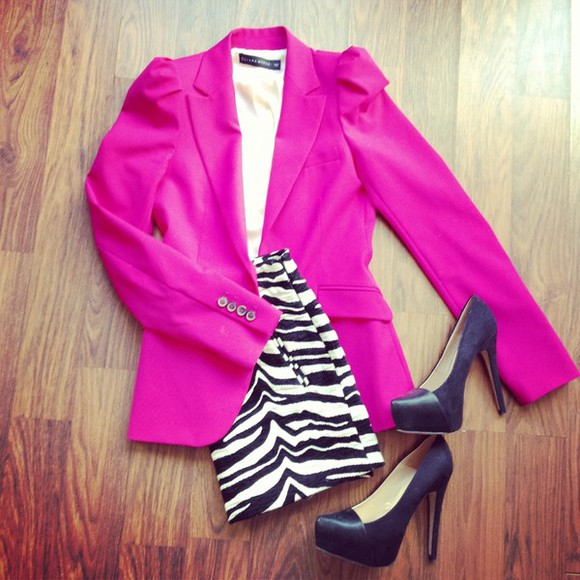 jacket pink jacket fuchsia shoes zara zebra skirt blazer high heels