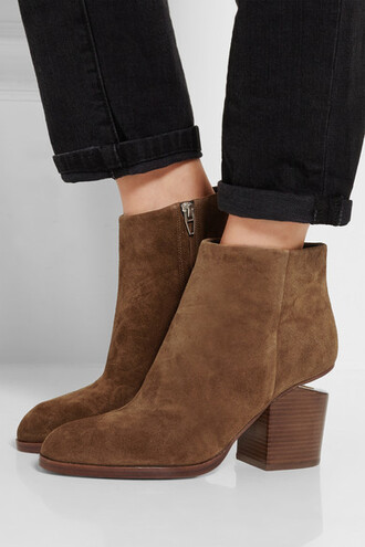 shoes alexander wang cut out shoes suede boots ankle boots brown leather boots