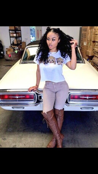 shoes style boots india westbrooks pants shorts shirt knee high boots brown boots grey pants white t-shirt monkey t-shirt jeans india westbrooks curly hair khaki pants india love beige pants beige jeans emoji crop top