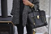 bag,sweater,black,black bag,coat,grey,fur,vest,cardigan