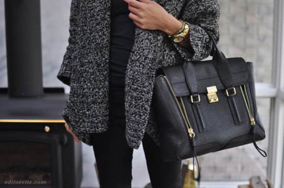 cardigan bag sweater black black bag coat grey fur vest
