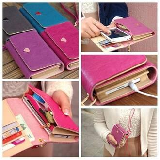 bag phone phonecase case purse jewels pink purple blue black iphone case wallet phone case