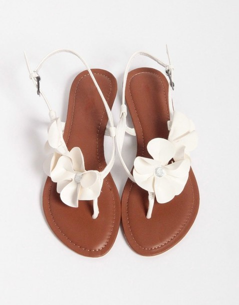 White Floral Sandals Picsbud
