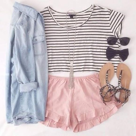 shorts shirt denim shirt jacket shoes striped shirt jewels black and white stripes crop tops